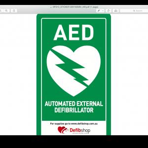 DFS Window AED Sticker
