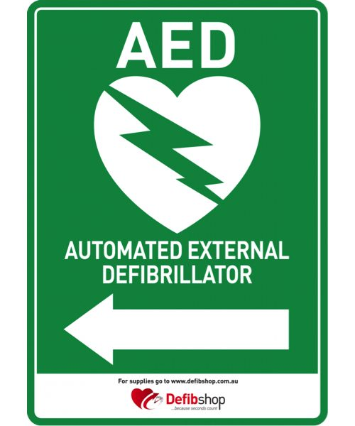 AED sign arrow to left