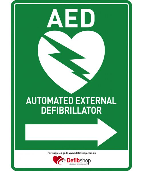 AED sign right sticker